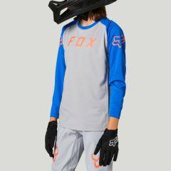 Fox Youth Defend Long Sleeve Jersey 2021 - Steel Grey