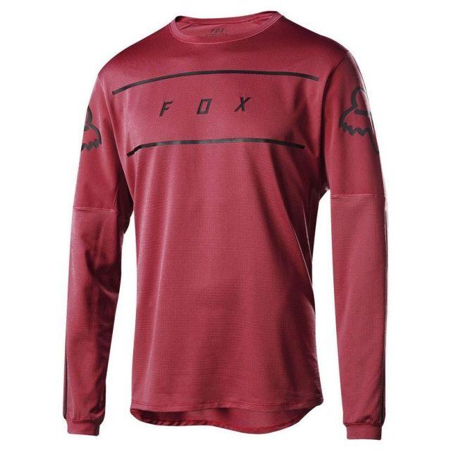Fox Flexair Fine Line Long Sleeve Jersey - Cardinal Red