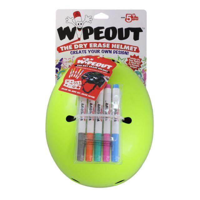 Wipeout Dry Erase Kids Helmet -Fluro Yellow  M