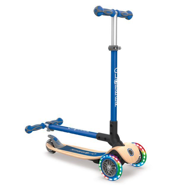 globber blue wood scooter