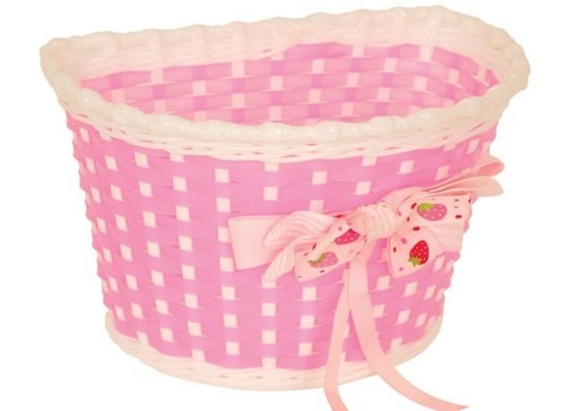 Kids Basket Pink and White with Strawberry Bow