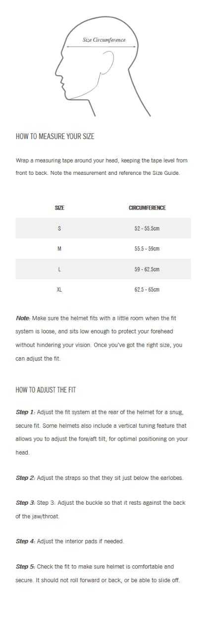 Giro Open Face Helmet Size Guide