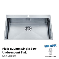 Piato 820 inset sink 820 x 510 x 250mm 1 Taphole