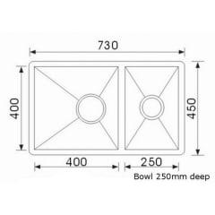 Piato 1 &1/2 bowl Undermount sink 730 x 450 x 250mm (Radius Edge)