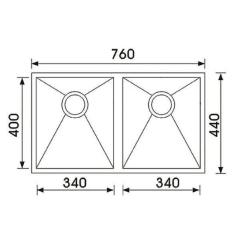 Seta Undermount sink 760x440x200mm Double Bowl