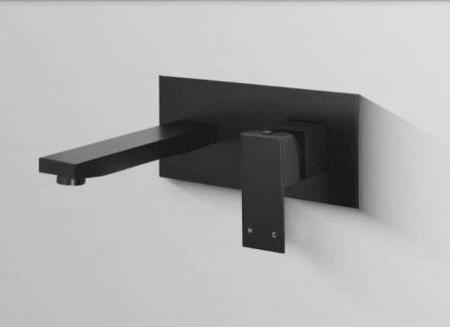 Innova Nautica Matte Black Wall Basin Mixer with Spout
