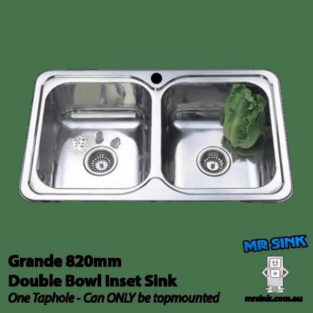 820mm Grande Double Inset Sink