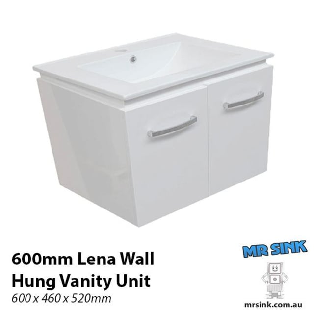 600mm Lena Wall Hung Vanity Unit One Tap Hole