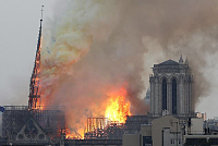 Fire Destroying Notre-Dame Church in...