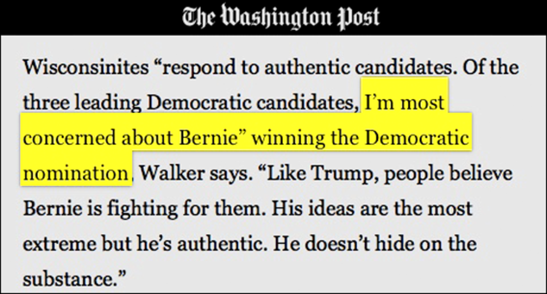 BERN NOTICE: Scott Walker Says He Fears Bernie Will Win Wisconsin For Dems In 2020