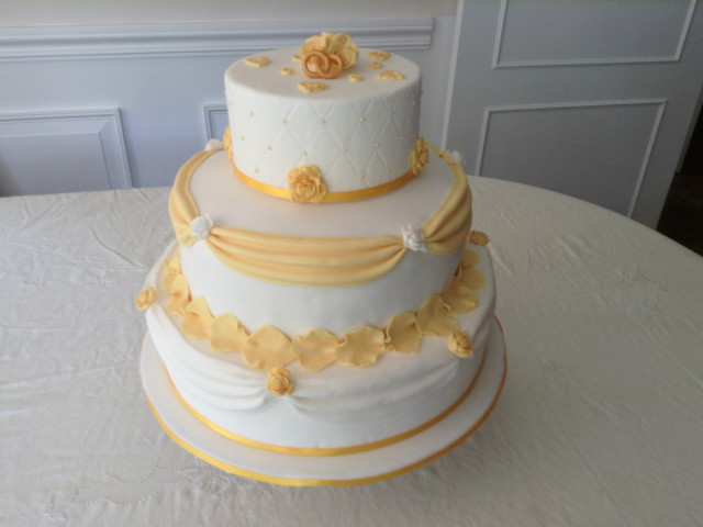 3 Layer White Sponge Wedding Cake  Parramatta