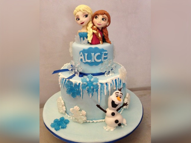Frozen Cartoon Birthday Cake 2-tier Croydon Park