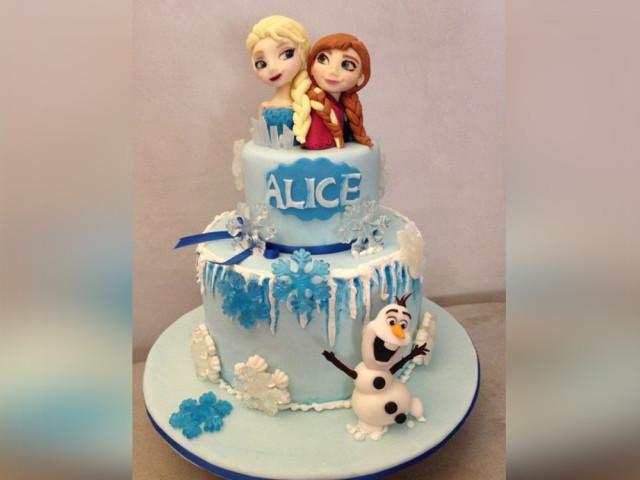 Frozen Cartoon Birthday Cake 2-tier Croydon Park