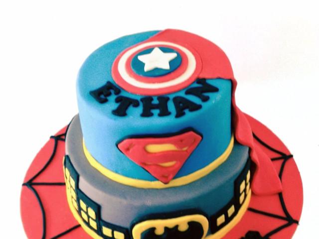 Superheroes 2 Tier 3D Cake Marrickville