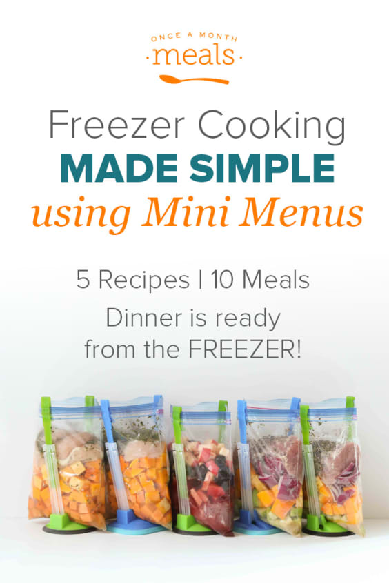 Want to make meal planning simple with Freezer Cooking Mini Menus. 5 Recipes - 10 meals!