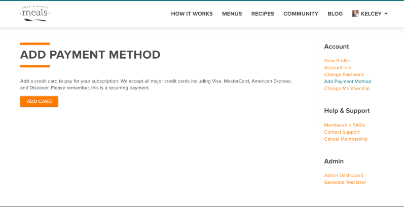 Payment Method Screenshot