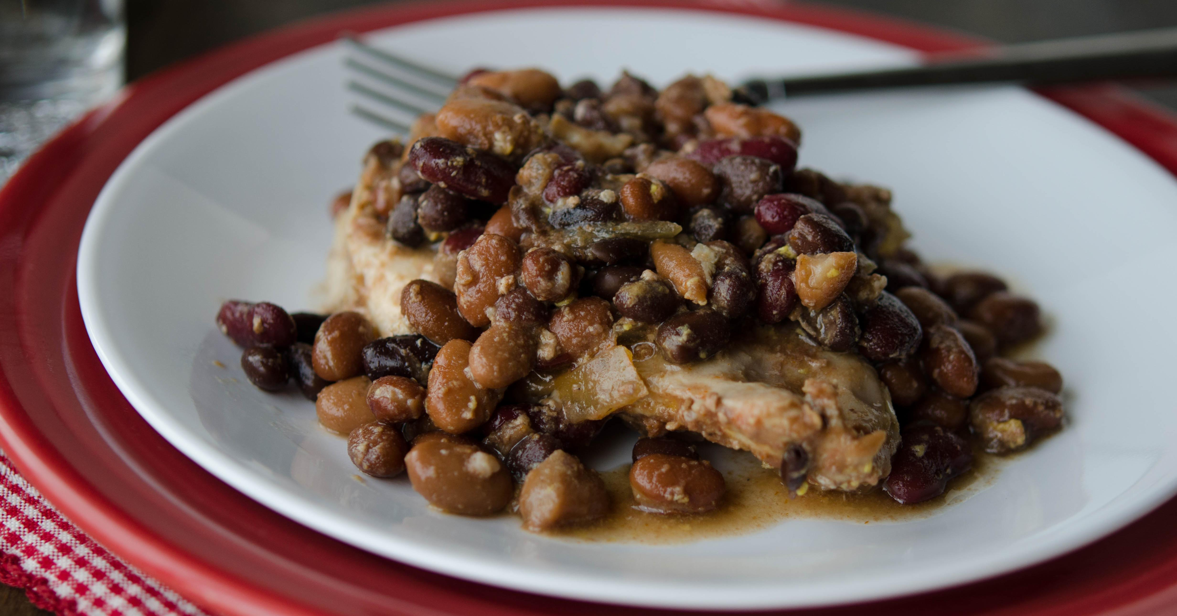 Slow Cooker Baked Bean Chicken Dump And Go Dinner Once