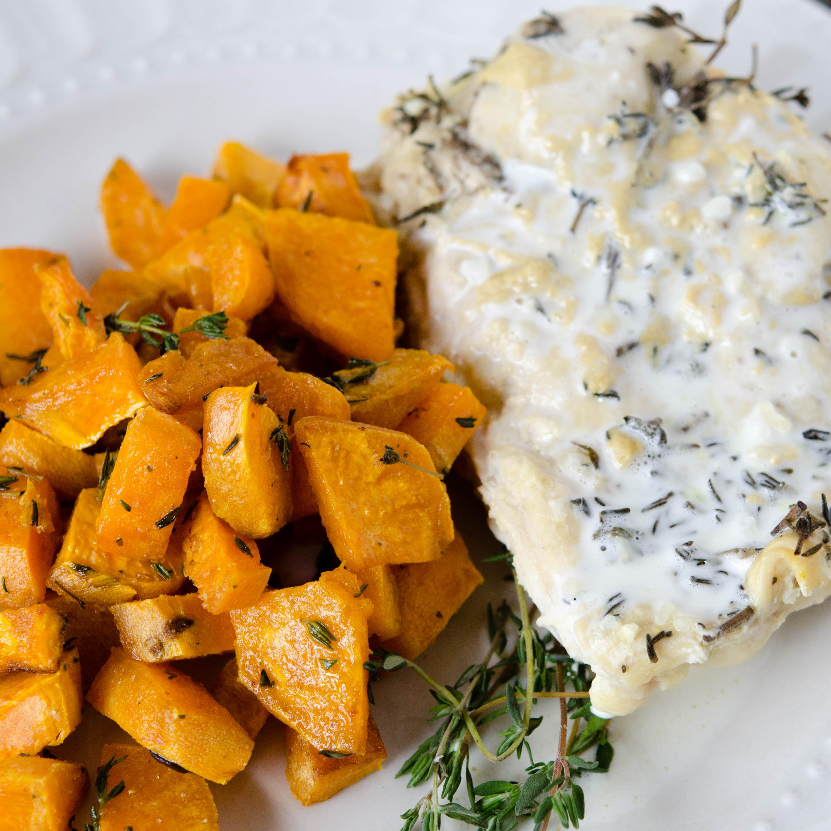 Creamy Slow Cooker Thyme Chicken Dump And Go Dinner Once A Month Meals