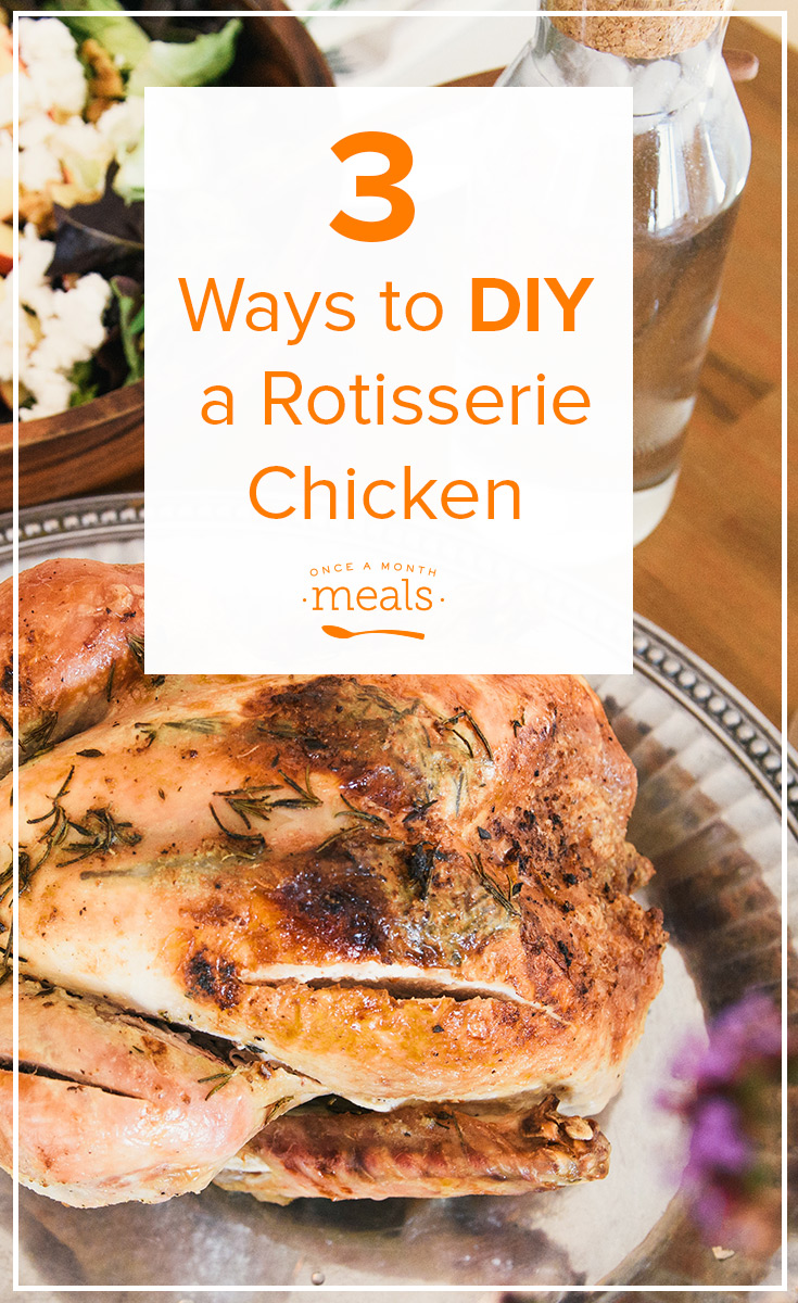 A tutorial that teaches you how to DIY Rotisserie Chicken 3 different ways - oven, slow cooker, and Instant Pot! Just as easy as grabbing it in the deli and much cheaper!