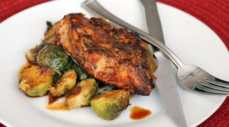 Simple Slow Cooker Pork Chops and Brussel Sprouts