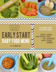 Early Start 4 6 Month Baby Food Meal Plan Once A Month