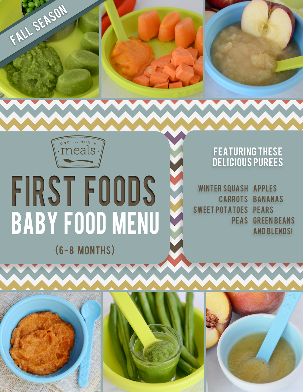 First foods 6 9 month fall baby food menu once a month meals forumfinder Choice Image