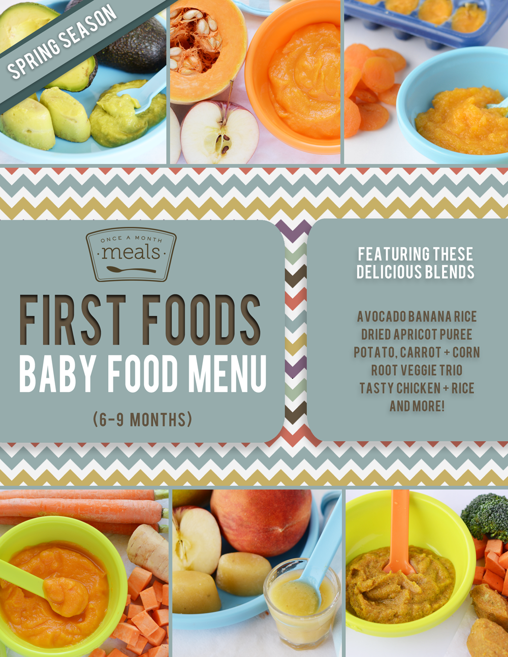 First foods 6 9 months spring baby food menu once a month meals forumfinder Gallery