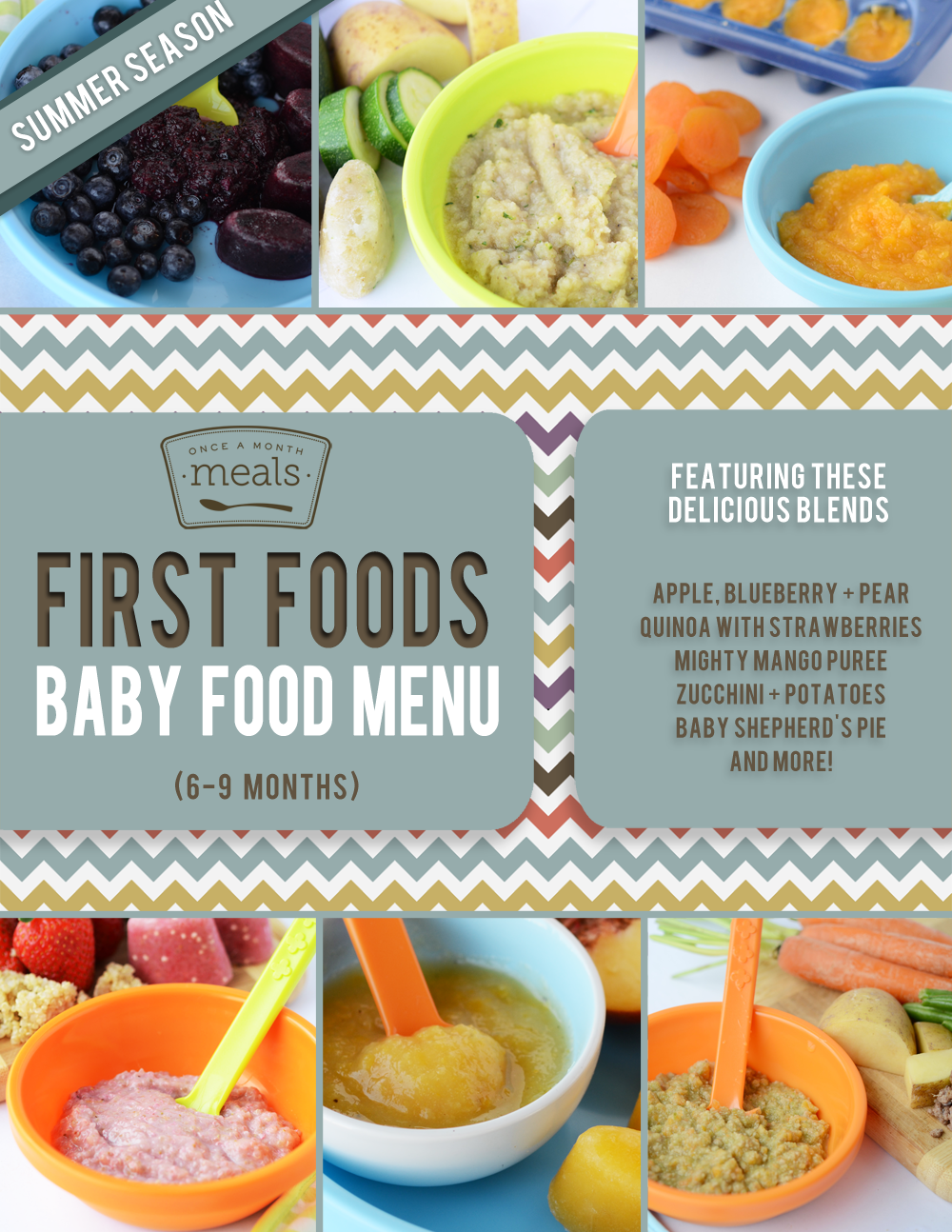 First Foods 6 9 Month Summer Baby Food Meal Plan Once A