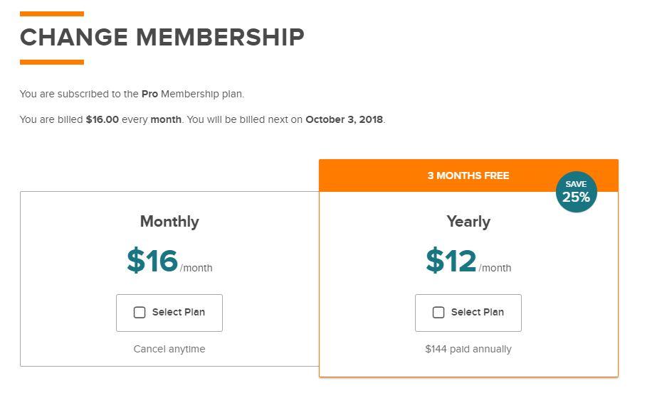Change Membership Page
