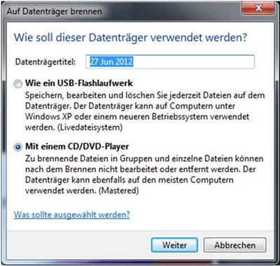 Burn to disk dialogue box 1