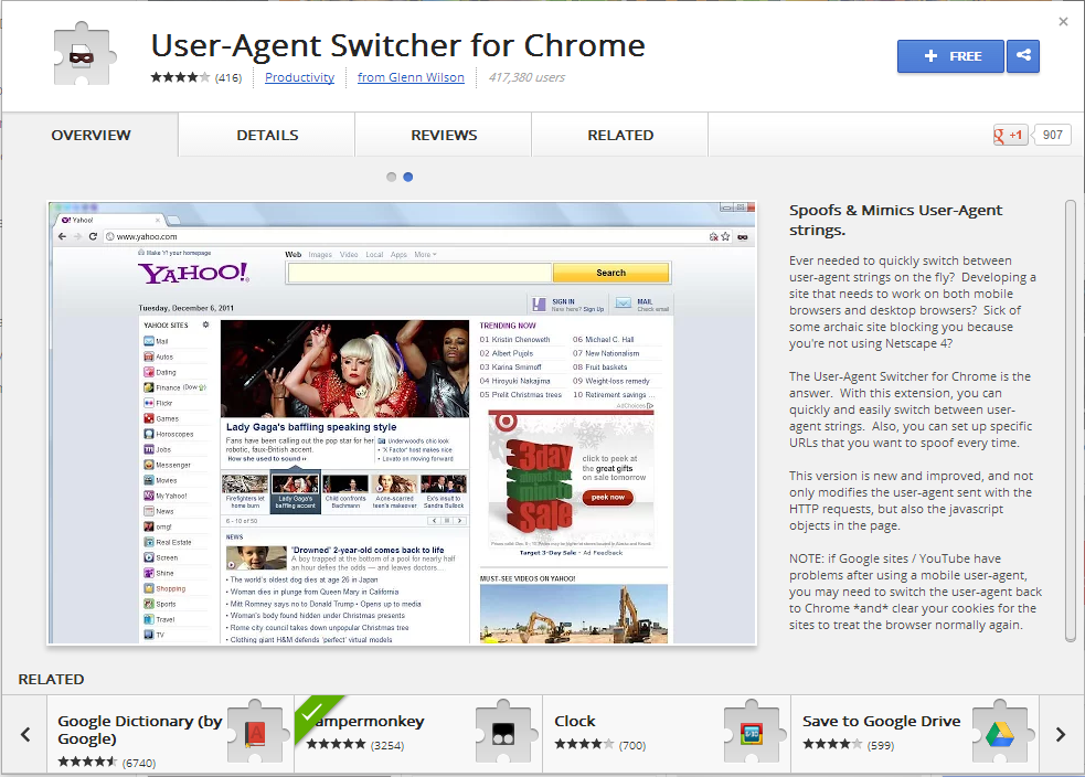 Chrome Web Store - User Agent Switcher