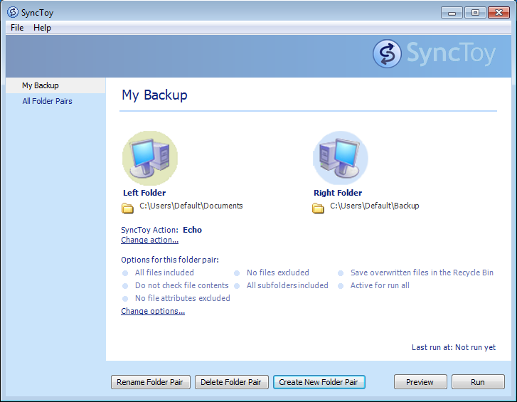 Synctoy's intuitive user interface