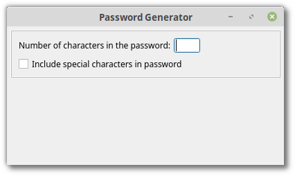 App displaying password generation options
