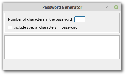 App with widget to display generated password