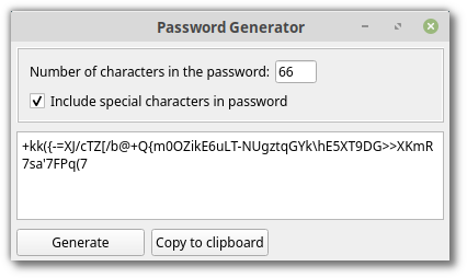 App generating a 66 digit password