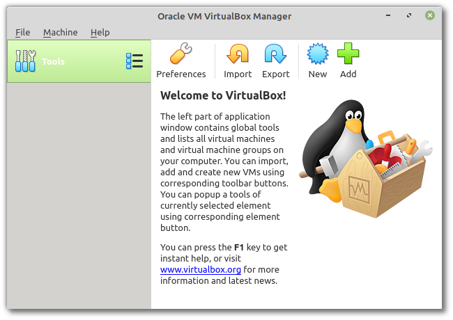 Welcome to VirtualBox