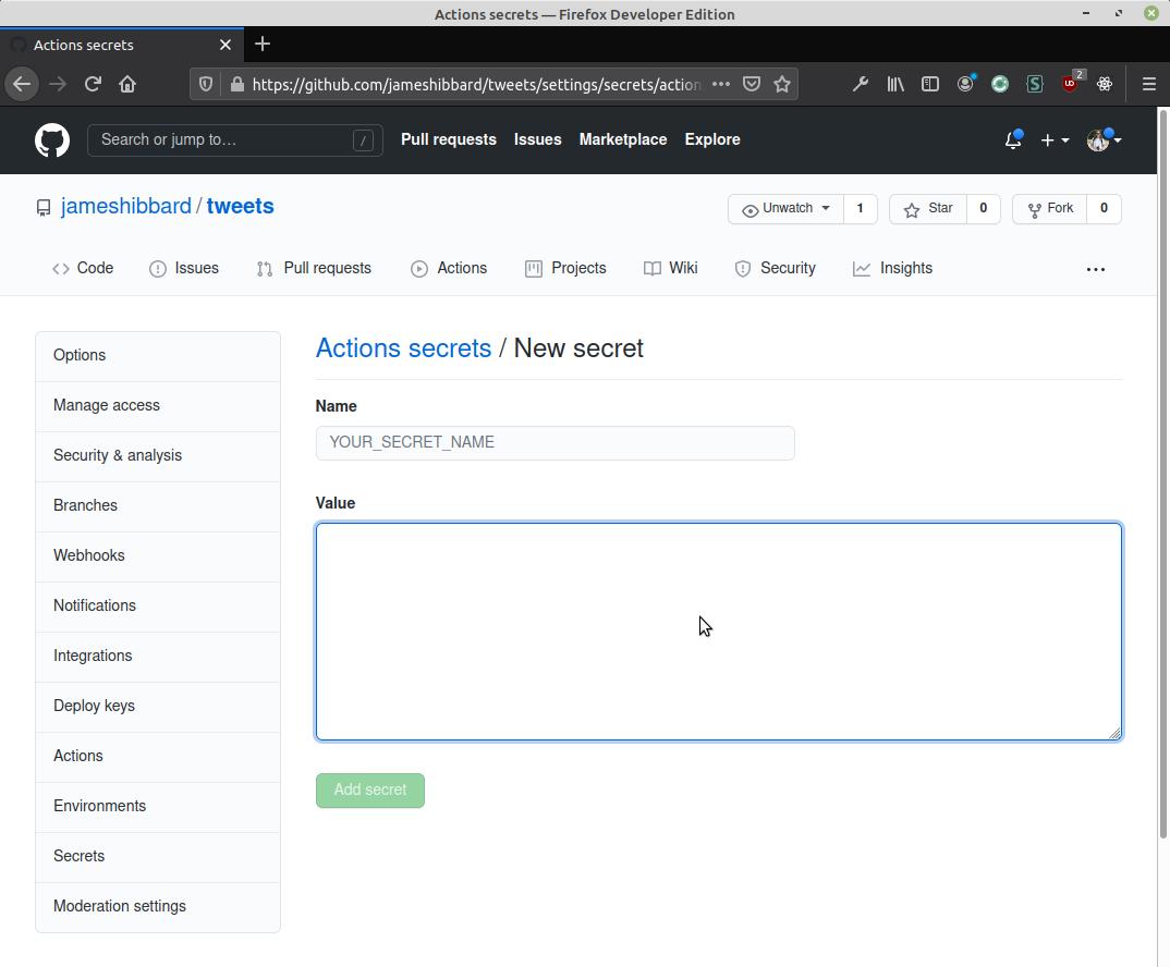 GitHub secrets page