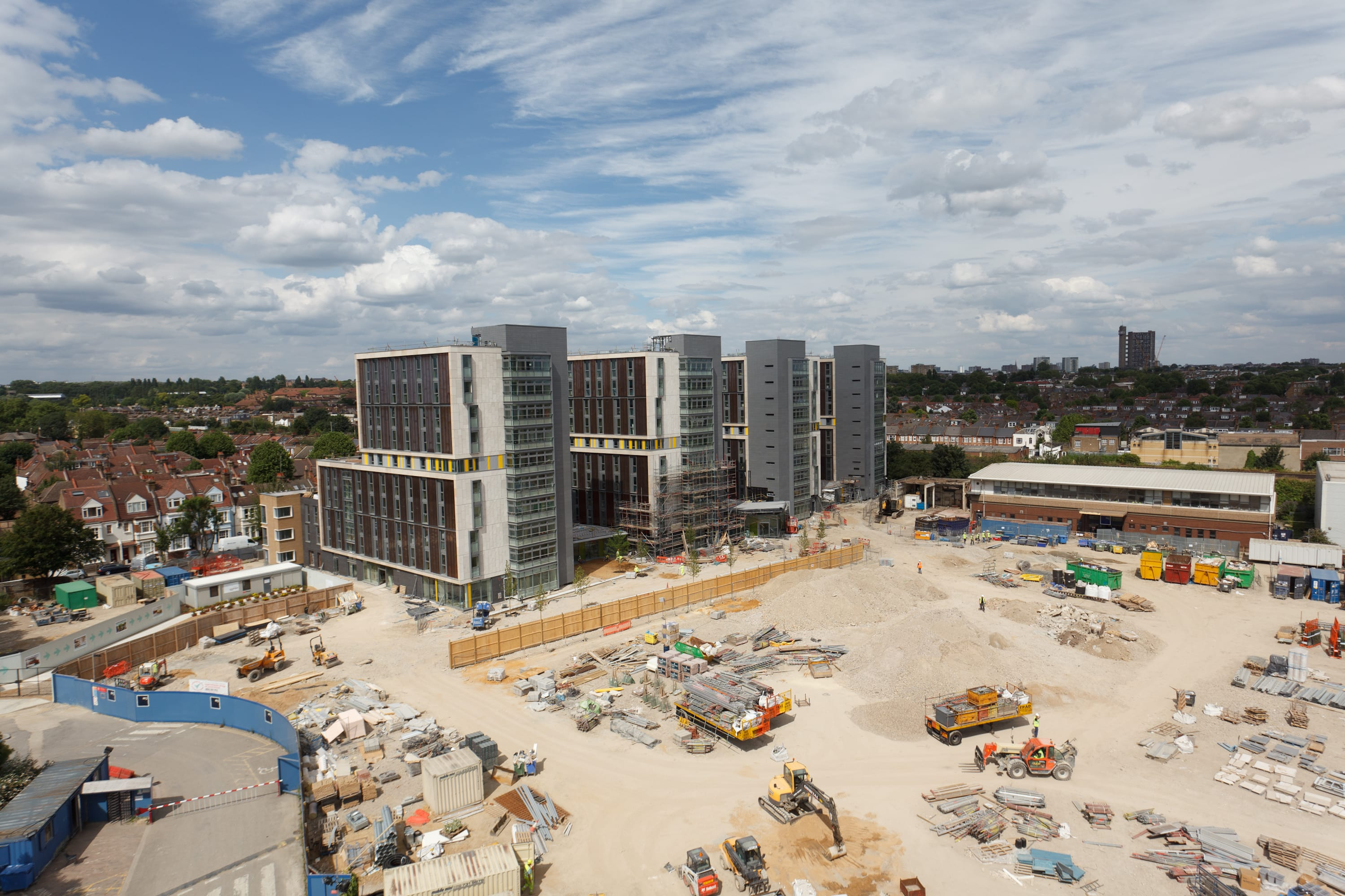 A finished phase of new Imperial College buildings on a still active construction site.