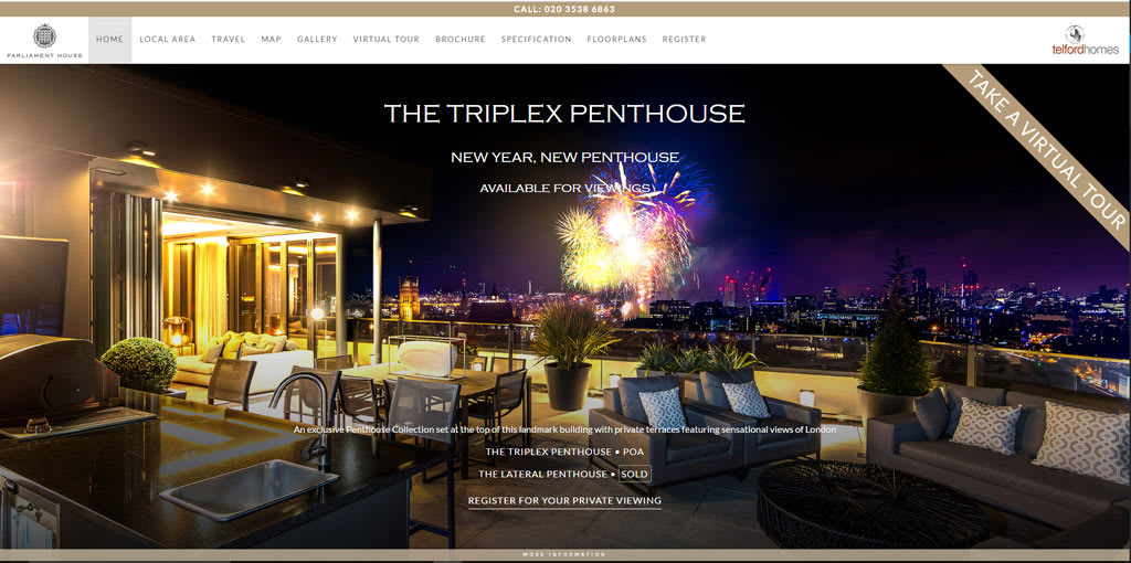 A screenshot of Telford Homes website for Parliament House