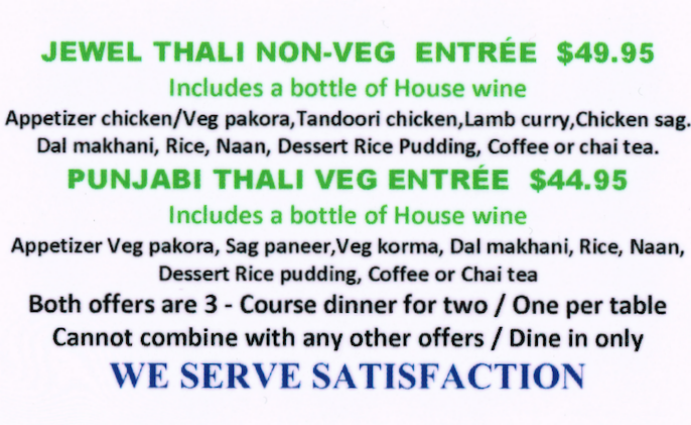 Try our veg and non-veg thalis