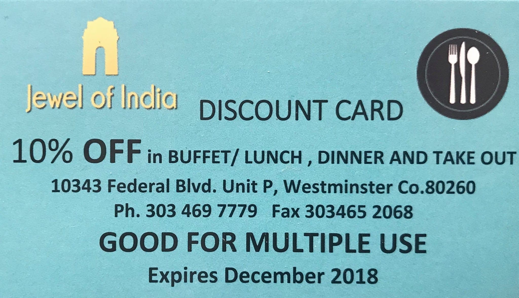 Discount Card. 10% Off on any orders