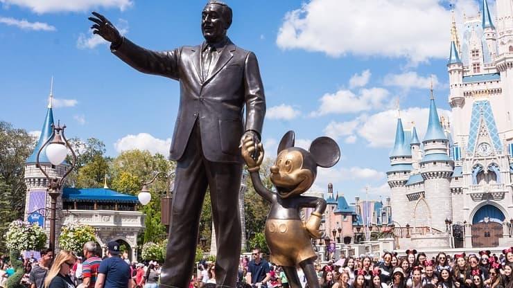 Walt Disney with Mickey Mouse Statue at Walt Disney World