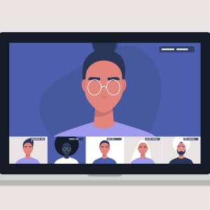 Illustration of a laptop showing an online meeting with many students' faces