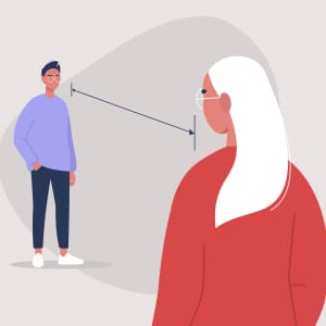 Illustration of two students practicing social distancing