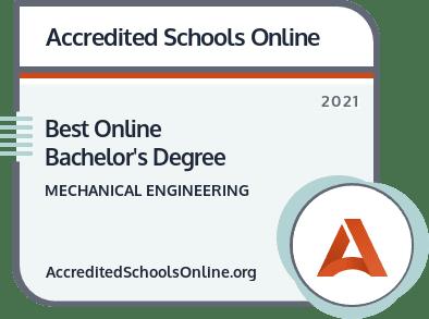 Best Online Bachelor's Degree in Mechanical Engineering badge