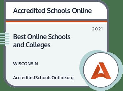 Best Online Colleges and Universities in Wisconsin badge
