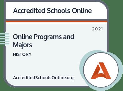 Best Online History Degree Programs badge