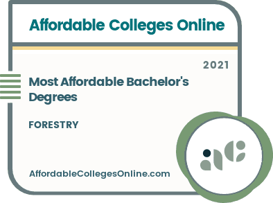 Most Affordable Bachelor's Degrees in Forestry badge