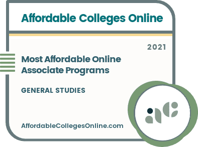 Most Affordable Online Associate Programs in General Studies badge