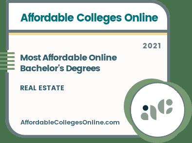 Most Affordable Online Bachelor's Degrees in Real Estate badge